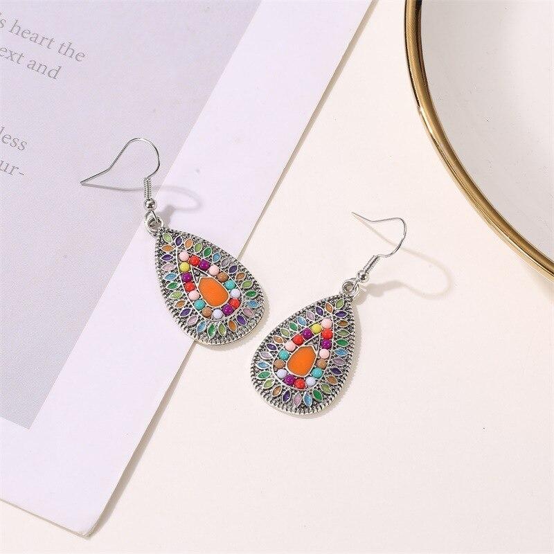 ZYZQ Neo-Gothic Bohemia Women Drop Earrings Vintage Ethnic Painting Stylish Pendant Fashion Jewelry Earrings Hot Selling Jewel