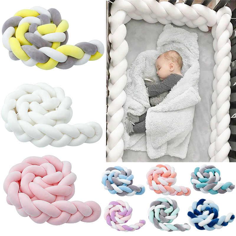 Nueva llegada 19-27 parachoques cuna bebé cómodo bebé cojín de cama de cuna Protector Unisex 1,5 M/2 M /3M giro nudo almohada bebé