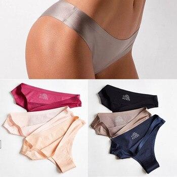 Seamless Panties Women Briefs Nylon Ultra-thin G-string Thongs Low Rise Lingerie Ice Silk Briefs Lady Underwear Plus Size 1
