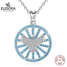 Eudora Sterling Silver Unique Sea Blue Pendant AAA CZ Angel Wings Necklace 925 Fashion Women man Jewelry CYD408