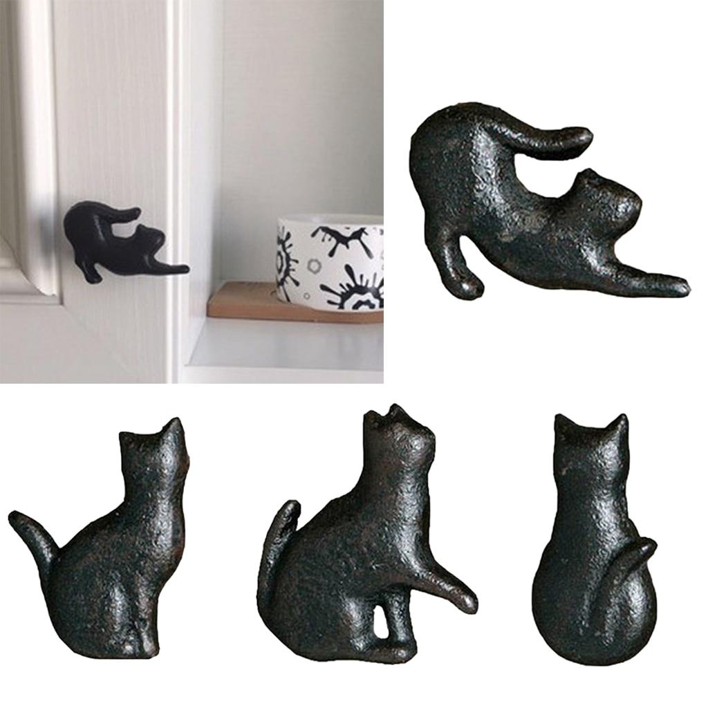 Variety Cast Iron Cute Cat Style Door Drawer Cabinet Pull Handle Knobs Vintage Rural Furniture Hardware Door Pull Handle Knob