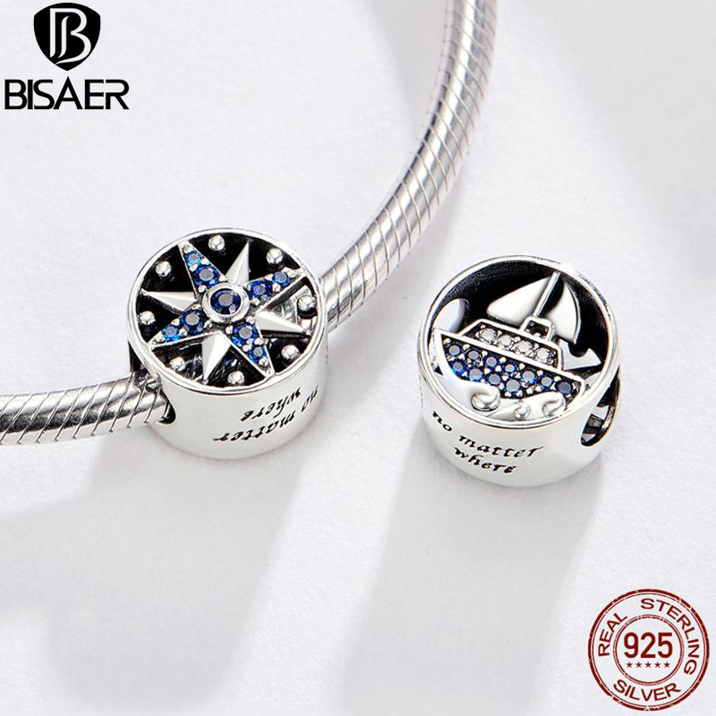 BISAER Travel Charms 925 Sterling Silver Tour Dream Beads Ship Travel Dreams Charms Fit Women Bracelets DIY Jewelry ECC1197