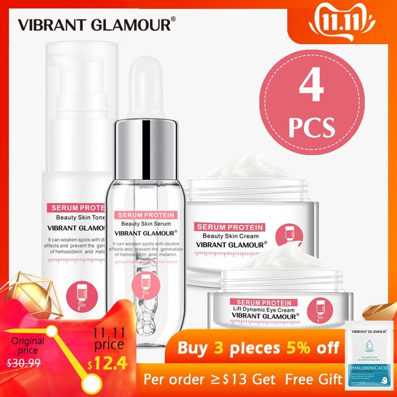 VIBRANT GLAMOUR Serum Protein Repair Face Cream Anti-Wrinkle Face Serum Toner Eye Cream Moisturizing Against Puffiness Skin Care
