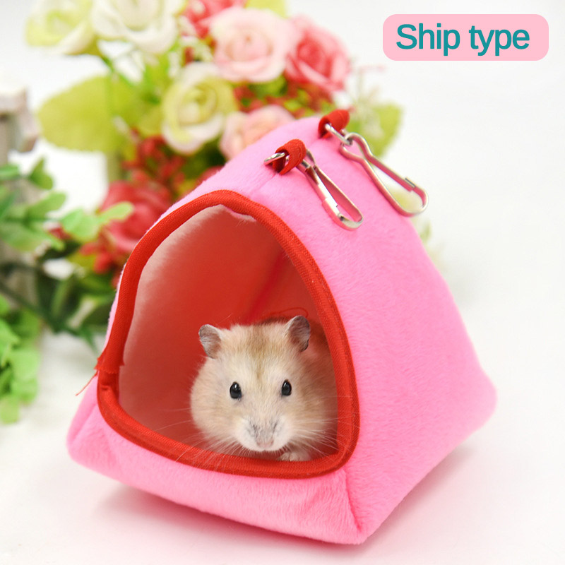 Winter Soft Warm Tunnel Hamster House Pet Hanging Cage Hammock Swing Nest For Small Pet Rabbits Squirrel Rat Chinchilla Sleeping