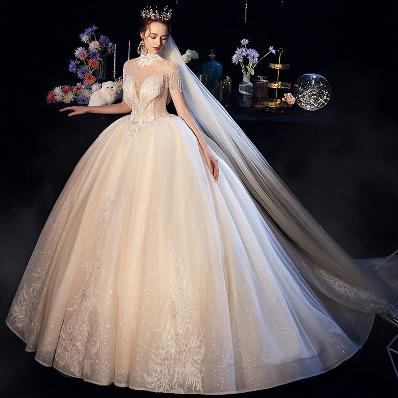 Vivian's Bridal Shiny Voile Wedding Dress Lace High Neck Crystal Illusion Mesh Beading Tassel Princess Fantasy Bridal Ball Gown