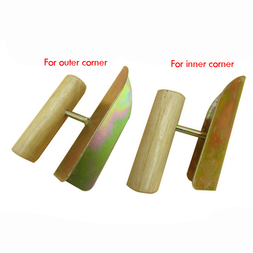 Drywall Inside / Outside Corner Tool With Wooden Handle - Perfect 90 Degree Corner Drywall Finishing Galvanized Corner Trowel