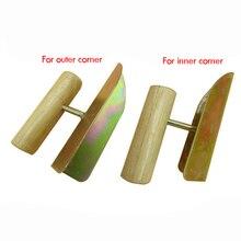Herramienta de esquina interior/exterior de yeso con mango de madera-paleta de esquina galvanizada de acabado de yeso de 90 grados perfecta