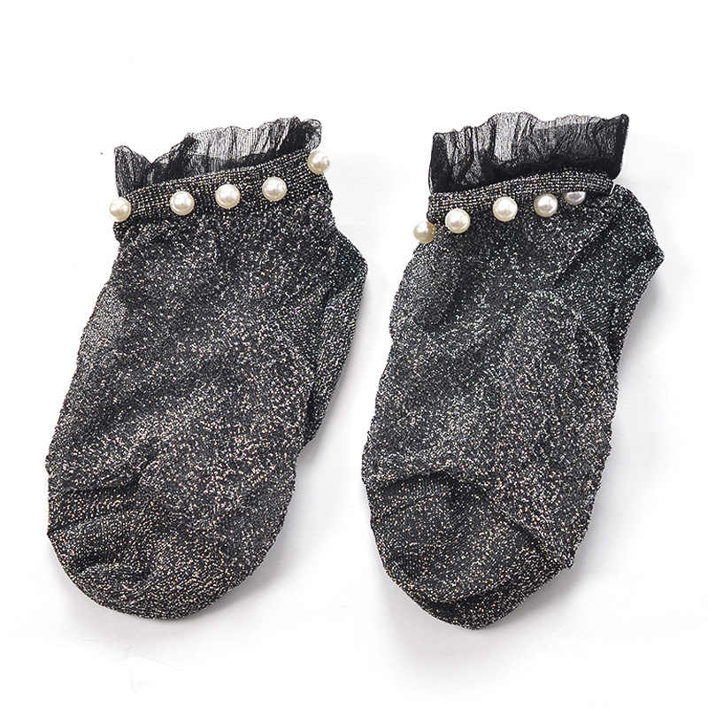 New Hot Style Stylish Fashion Modern Woman Girl Lady Glitter Shiny Pearl Socks Mesh Thin Bead Gauze Transparent Sox 2019
