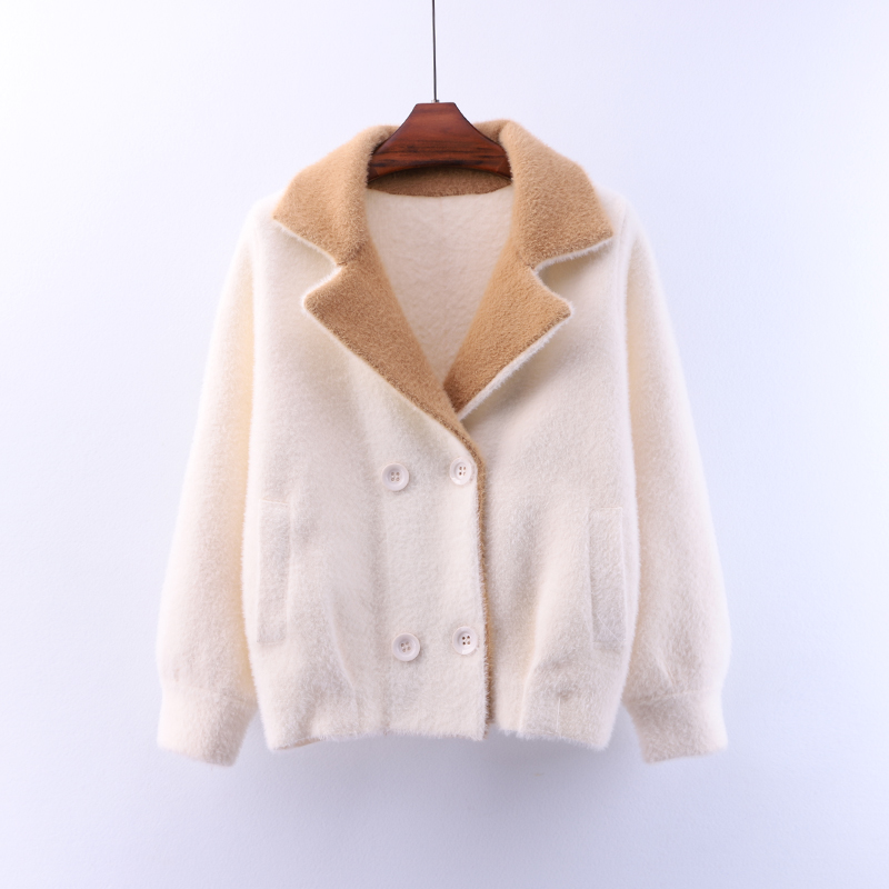 New Autumn Winter Loose Double Breasted Small Blazers Suits Jackets Solid Color Faux Mink Cashmere Knitted Cardigans Sweaters