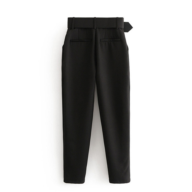 Office Lady Black Suit Pants with Belt Women High Waist Solid Long Trousers Fashion Pockets Pants Trousers Pantalones 2