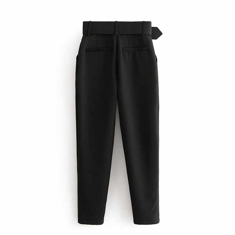 Ofis bayan siyah takım elbise pantolon ile kemer kadın yüksek bel katı uzun pantolon moda cepler pantolon pantolon Pantalones