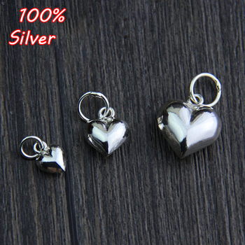 2pcs Charm Heart Shape 925 Sterling Silver Color Pendant Jewelry For Bracelet Making DIY Handmade Beading Accessories Craft цена 2017