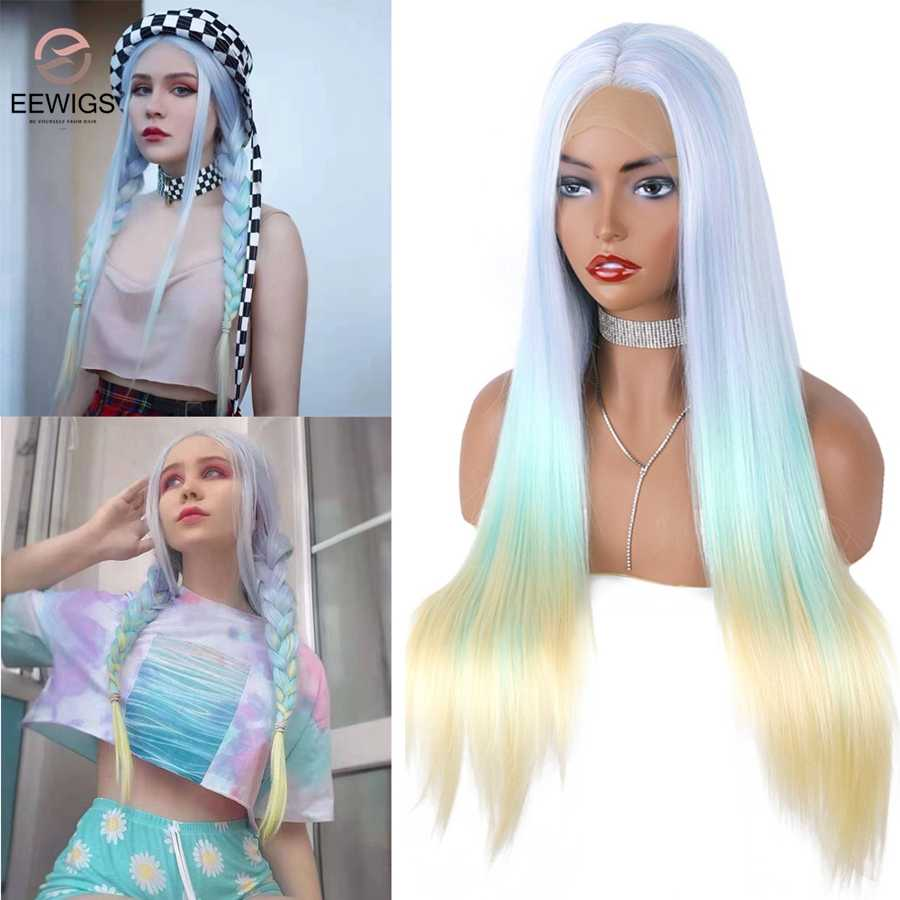 EEWIGS Yellow Ombre Pink Synthetic Lace Front Wig Glueless Blue Straight Wigs High Temperature Highlight Blonde Wigs for Women
