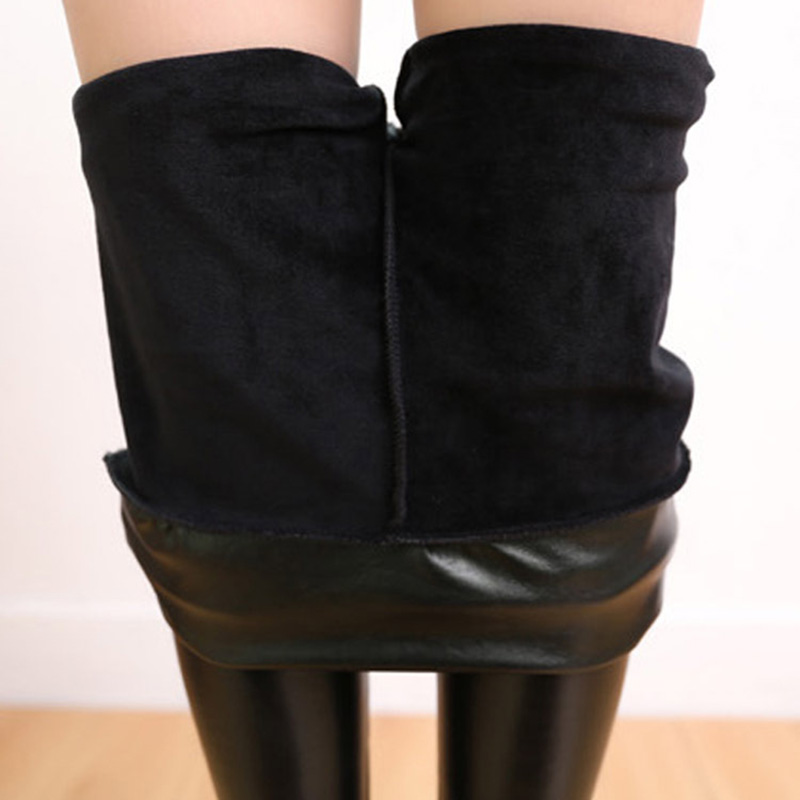 Nessaj  Women Faux Leather Legging Winter Keep Warm High Waist Jegging Ankle-length Large Size Plus Velvet Female Warm Leggings