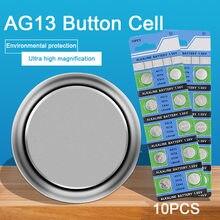 Lot de 10 piles boutons AG13 LR44 357, R44 A76 SR1154 LR1154, 1.55V G13, pour montre, jouets, télécommande