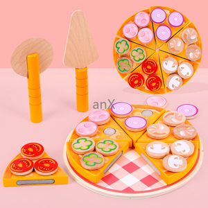 Image 2 - 27 sztuk Pizza drewniane zabawki jedzenie gotowanie symulacja zastawa stołowa dzieci kuchnia udawaj zagraj w zabawkę owoce warzywa z zastawą stołową