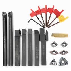 7 шт. 12 мм хвостовик диаметр нож cnc назад + соответствующие фиолетовые черные лопасти слоя + гаечный ключ VP15TF