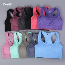Peeli Vital jednolity biustonosz sportowy dla kobiet siłownia krótki Top usztywniany biustonosz do jogi Fitness Push Up trening biustonosz Sport bh odzież sportowa