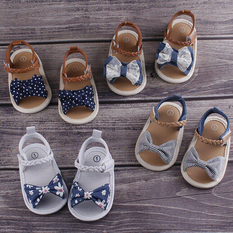 Summer Baby Girl Shoes Bowknot Shoes Anti-Slip Crib Shoes Soft Sole Prewalkers For 0-18M