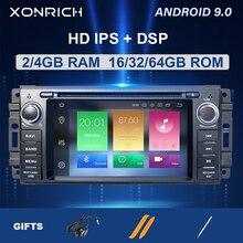 4G 1 Din Android 9 reproductor de DVD de coche para Jeep Grand Chrysler Cherokee 300C brújula patriota Dodge SebringGPS navegación Radio Estéreo