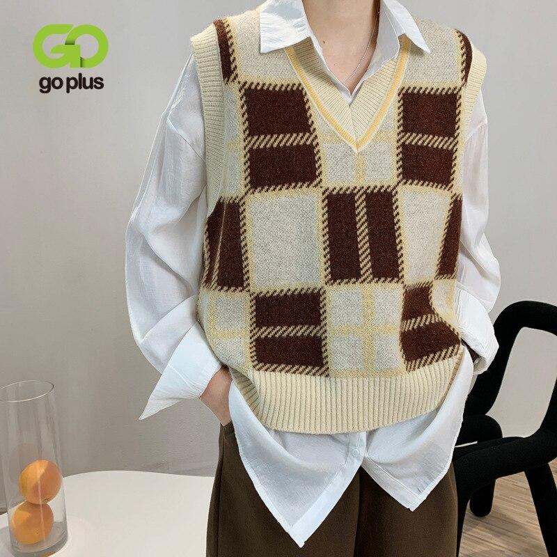 GOPLUS Vest Vintage Plaid Sweater Vest Women Korean V-neck Knitted Sleeveless Short Sweater Gilet Femme Pull Sans Manche C10786