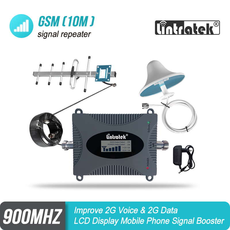 Lintratek 2G 900MHz Cellular Signal Booster B8 GSM 900 MINI Repeater Voice Amplifier LPD Antenna+Ceiling Antenna+10m Kit #8-1