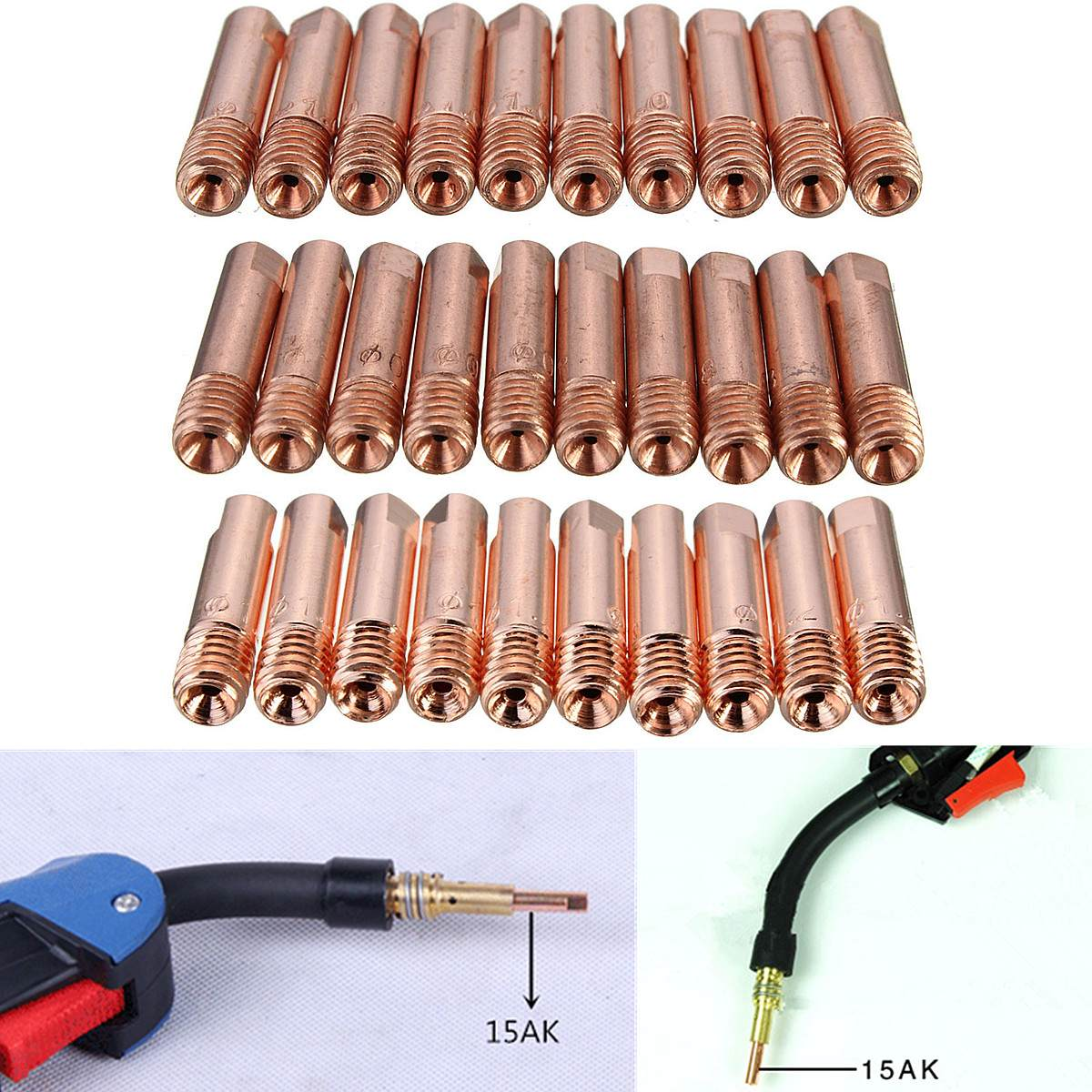 FORGELO 10pcs MB-15AK M6 25mm MIG/MAG Welding Nozzles Contact Tip Gas Welding Torch Nozzle 0.8/1.0/1.2mm Tools