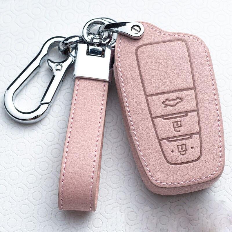 Leather Car Key Cover Case For Toyota Prius Camry Corolla C-HR CHR RAV4 Prado Auris Avensis Land Cruiser 200 Prado Crown Revo