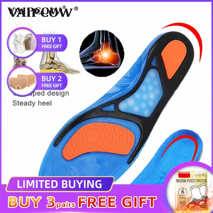 VAIPCOW Gel Insoles Top Quality Breathable Comfortable Silicone Inserts Deodorant Shock Absorption Shoe Insoles Sport Inserts