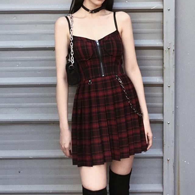 Gothic Girls Plaid Pleated Punk Dress Preppy Style Red Black Spaghetti Strap Sexy Sleeveless Mini Short Dresses Goth Streetwear 3