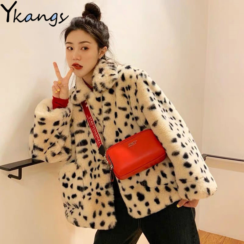 Casual Streetwear Leopard Print Faux Lamb Wool Coats Autumn Winter Loose Hip Hop Oversize Thicken Warm Jacket Women Outerwear