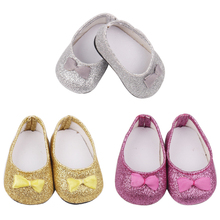 18 inch Girls doll shoes Shiny bow dress shoes PU American newborn shoe Baby toys fit 43 cm baby dolls s74-s76 18 inch girls doll shoes winter woolen slippers casual shoe american newborn accessories baby toys fit 43 cm baby dolls s129