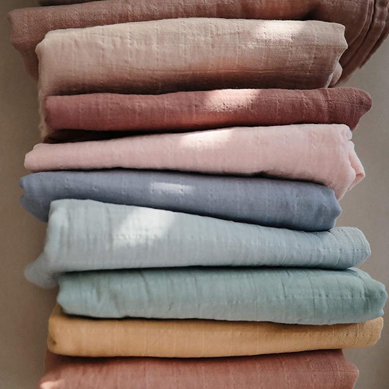 Muslin 70% Bamboo Baby Blanket 120*120cm Soft Newborn Blankets 2 Layers Bath Gauze Infant Swaddle Wrap Sleepsack Stroller Cover