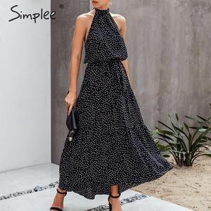 Image 3 - Simplee 섹시한 폴카 도트 여성 드레스 플러스 사이즈 민소매 높은 허리 벨트 맥시 boho 드레스 캐주얼 휴가 해변 파티 여름 드레스