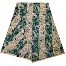 6 ярдов \ Лот африканская ткань зеленый цветочный принт в полоску восковая ткань для вечерние платья