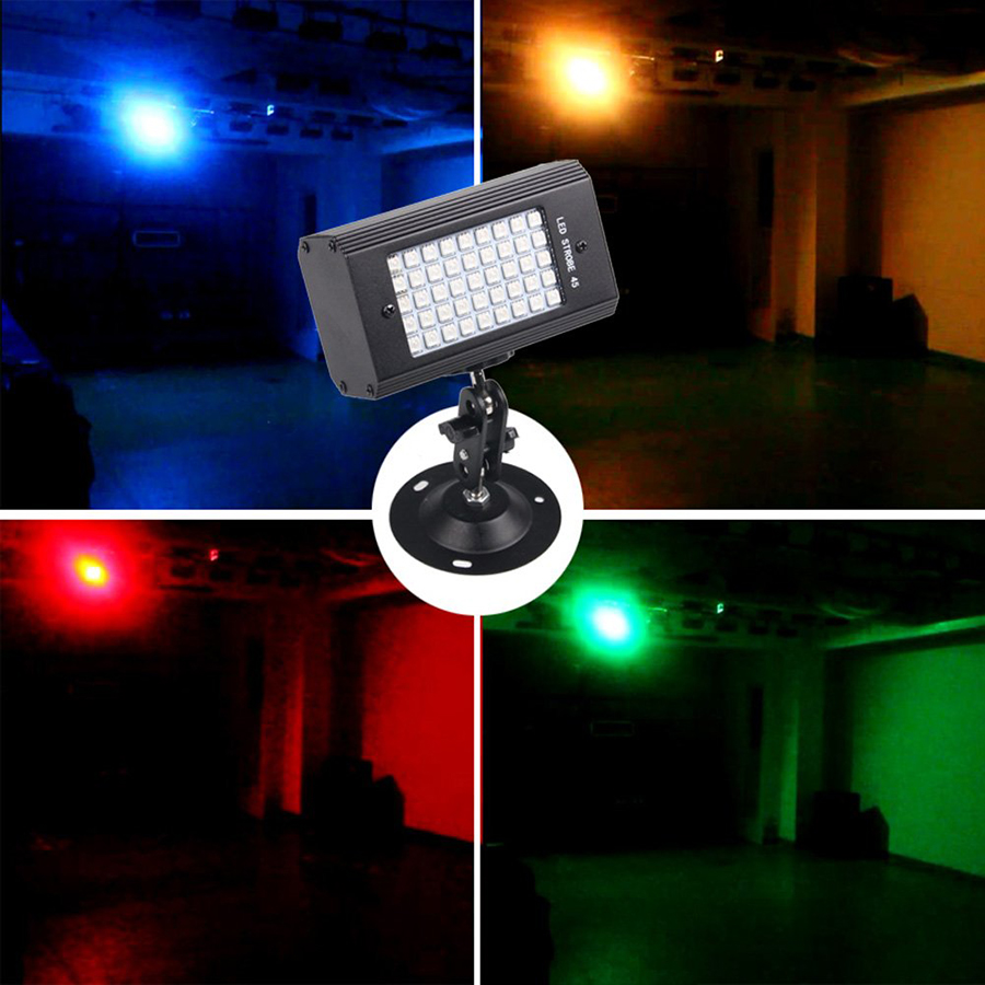 Sound Activated USB 45 LED RGB Strobe Stage Lights Disco DJ Party Lights Holiday Christmas Music Club LED Stage Lighting Effect