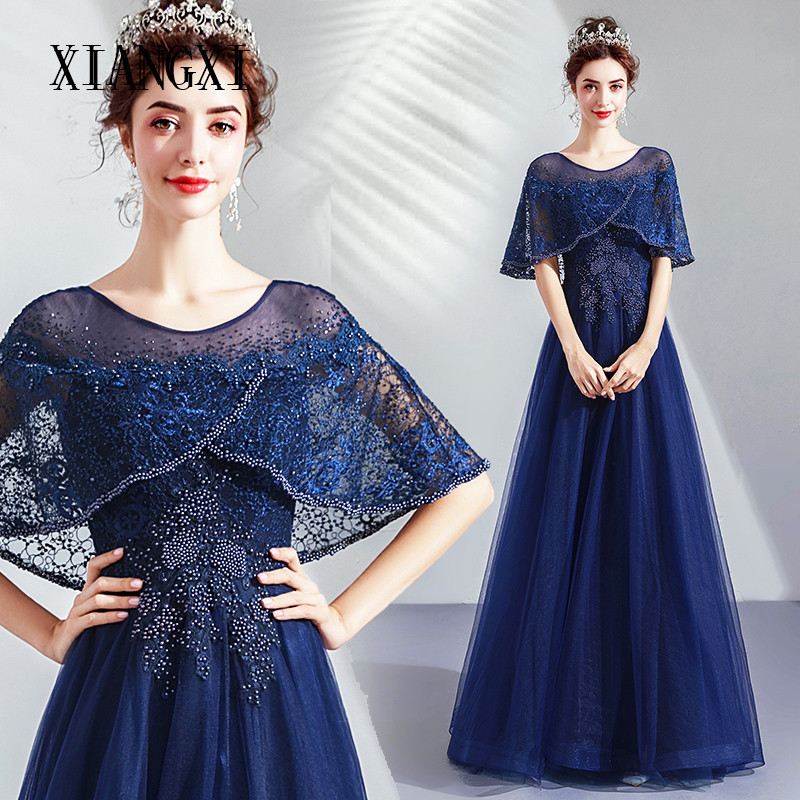 Robe de soiree Navy Blue Evening Dresses Long Tulle A-Line Jewel Neck Lace Appliques Beaded Evening Dress Formal Party Gowns