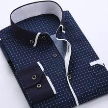 Homens de negócios dot xadrez impressão turndown colarinho manga longa botão camisa blusa topo moda casual camisa masculina vestido social camisas