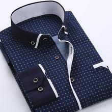 Business Mens Dot Plaid Print Turndown Collar Long Sleeve Button Shirt Blouse Top Fashion Casual shirt Male Social Dress Shirts