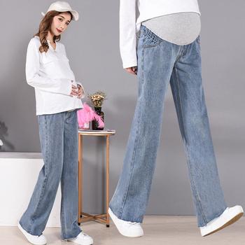 Długie jeansy ciążowe szerokie nogawki ciążowe jeansy dla kobiet w ciąży pod brzuchem jeansy ciążowe proste luźne spodnie denimowe chłopaka tanie i dobre opinie WOMEN Elastyczny pas Macierzyństwo Natural color light Boot cut COTTON