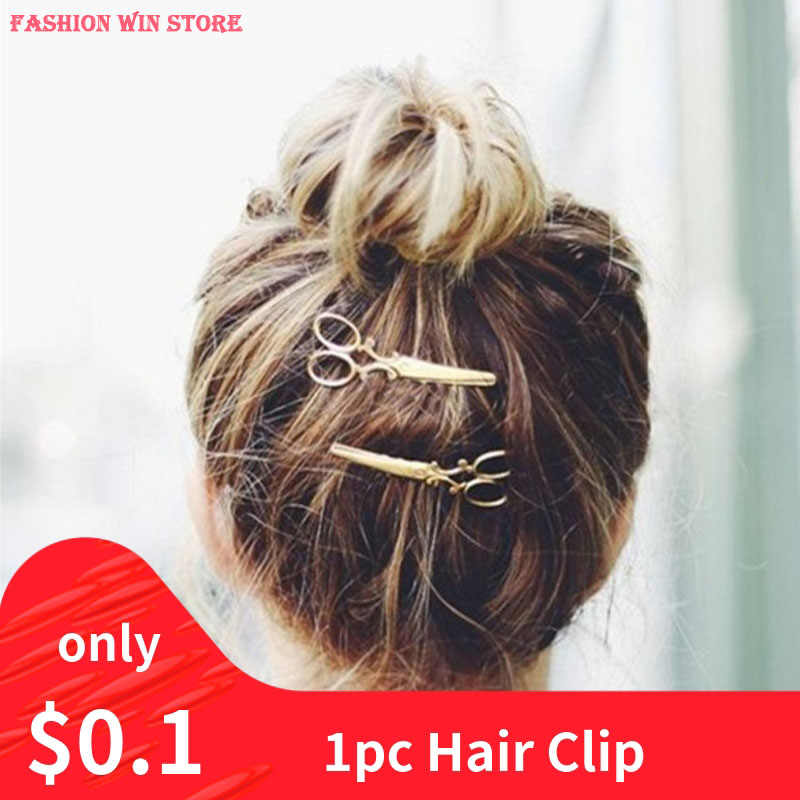 1PC Hair Clip Girls Women Headwear Casual Scissors Pattern New Fashion Hair Clip Hair Barrettes Apparel Accessories Headpiece