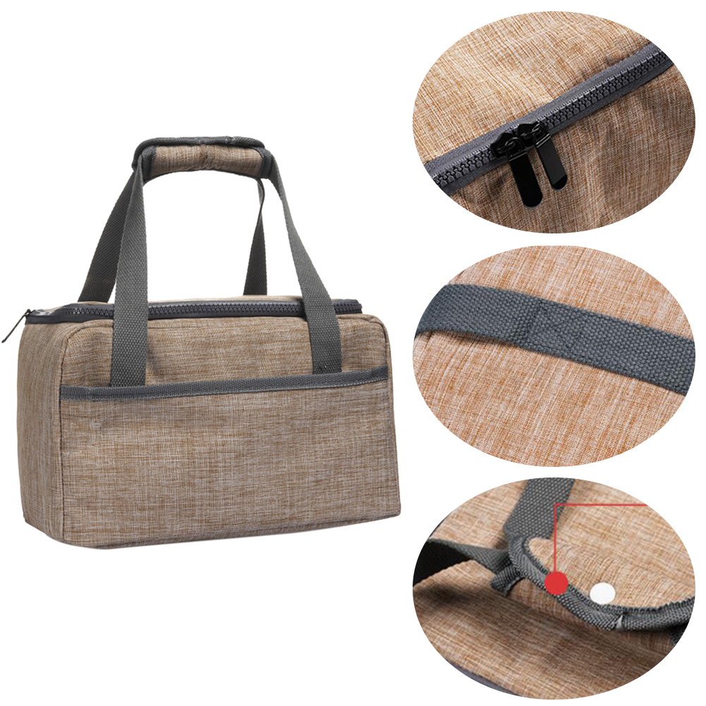 Women Men Food Container Thermal Insulated Lunch Bag Office Snack Storage Travel Waterproof Oxford Zipper Closure School Picnic