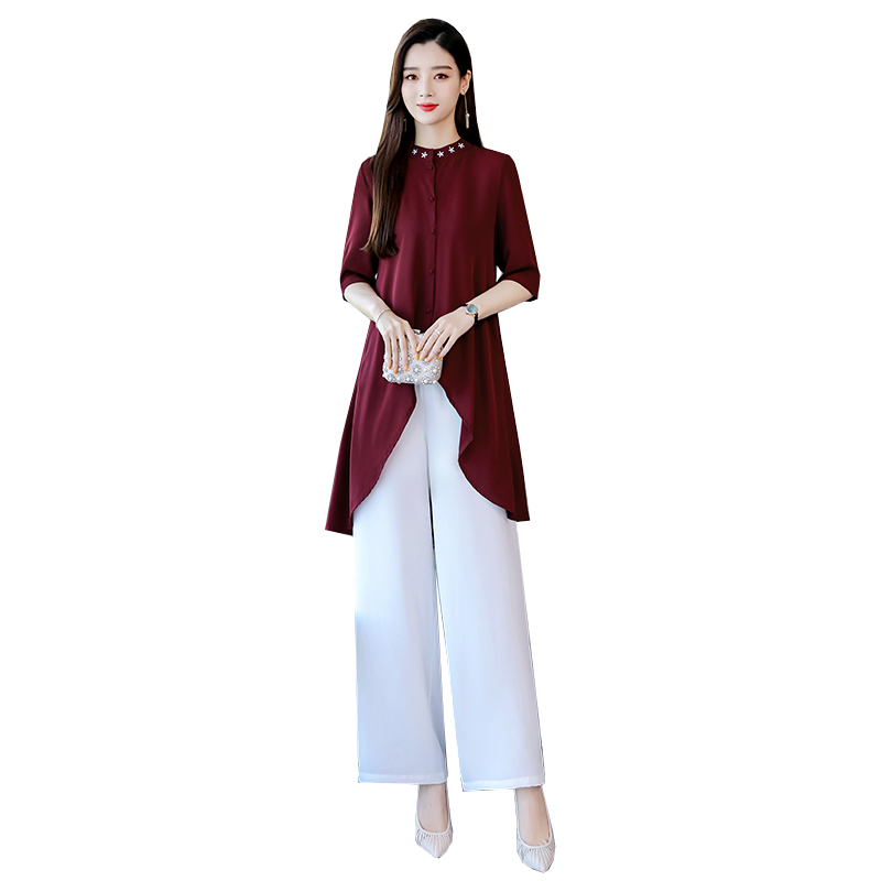 2019 Vietnam Aodai Cheongsam Dress For Women Traditional Clothing Ao Dai Set Long Two Pieces Set Chinese Traditional Clothes