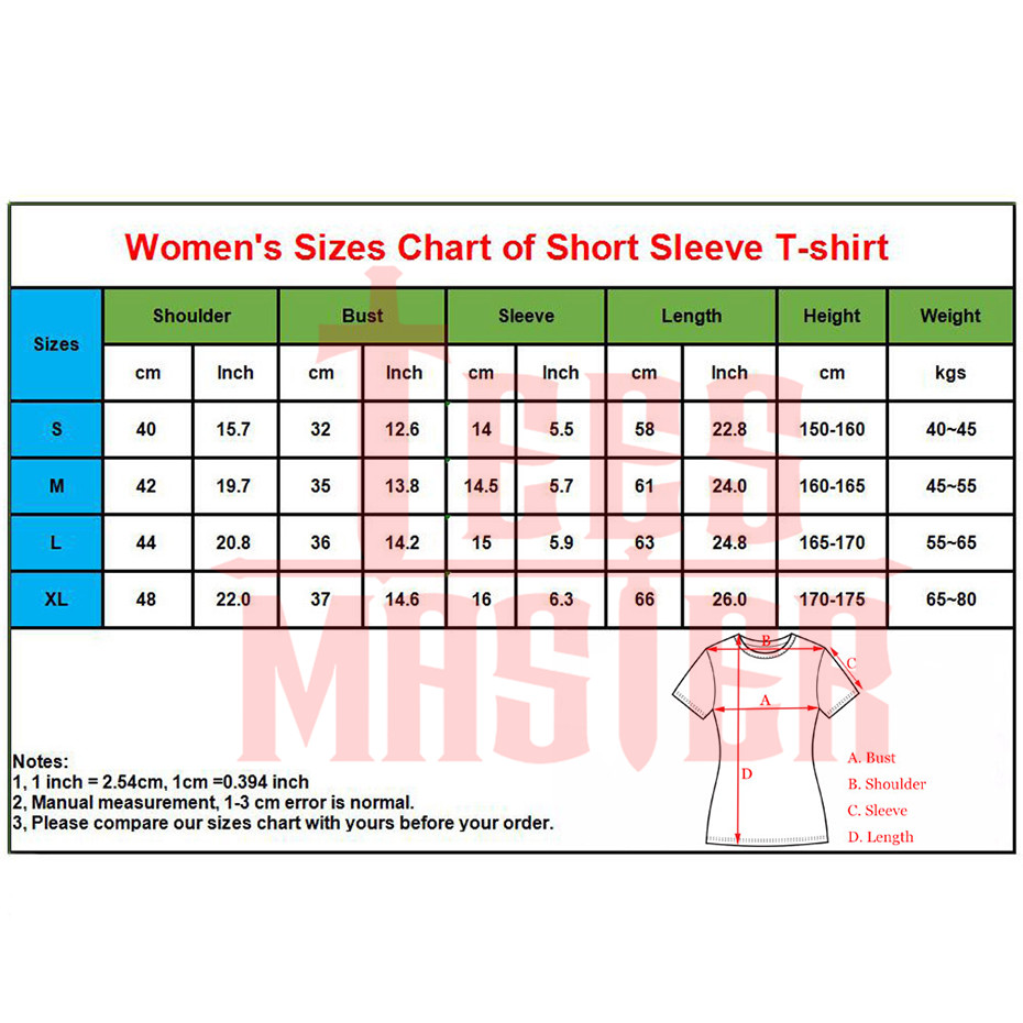 details of womens short sleeve sizes chart
