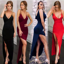 Women's Summer Dress 2021 V-neck Halter Robe Club Sexy Long Dress Slim Halter Slit Sling Dress Sleeveless Slim Waist Hot Sale