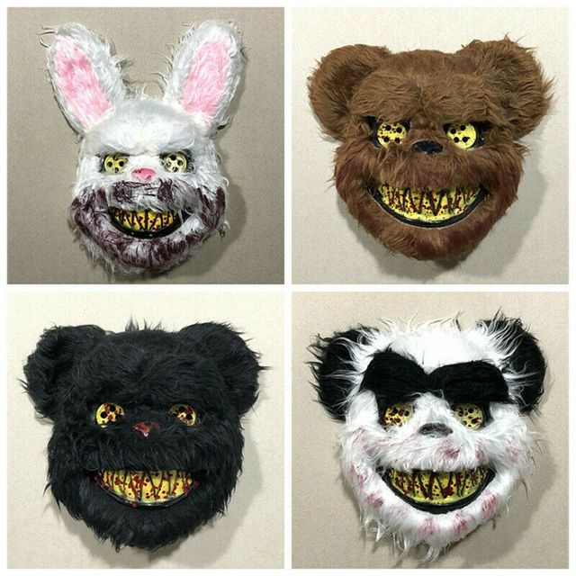 Halloween Scary Bloody Latex Animal Wolf Head With Hair Mask Fancy Dress Costume Party Horror Mask Adult/Kids 2