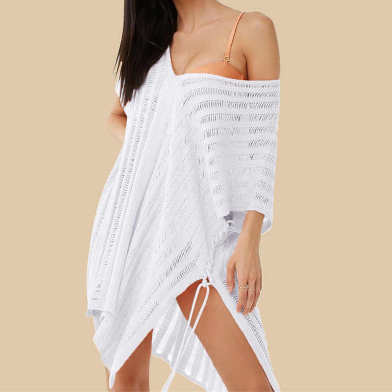 Novo crochê vestido de praia das mulheres de malha cobrir túnica sexy biquíni pareos cover ups verão natação terno coverup robe plage 2019 quente