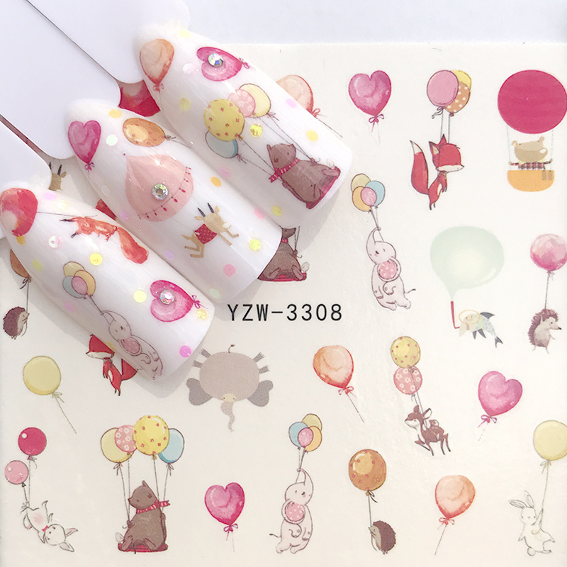 1 Sheet Transfer Balloon Stickers For Nails Cute Cartoon Animal Sliders For Nails DIY Adhesive Nail Art Tip Decora Wraps