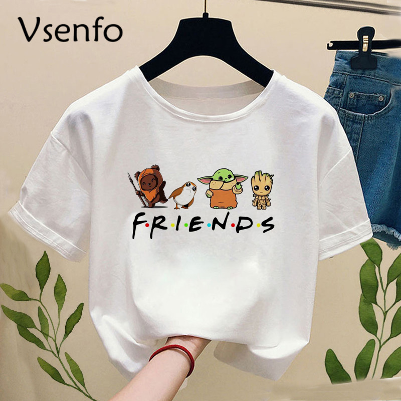 Baby Groot And Baby Yoda With Friends T-shirt Women Casual Fuuny Graphic Printed Women's T-shirts White Tops Drop Ship
