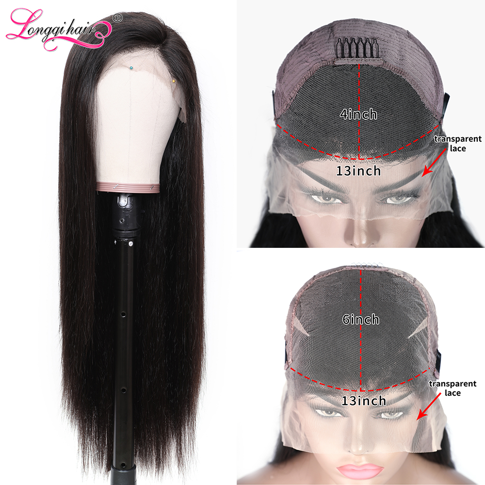 Longqi Hair Transparent Lace Wigs 13x4 13x6 Lace Front Human Hair Wigs Brazilian Remy Straight Lace Front Wig For Black Women